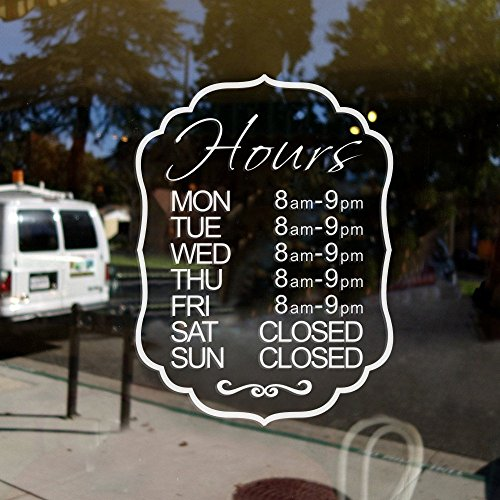 (MairGwall Personalized Door Window Decal Sticker Decor Custom Store Business Hours Store Hours Business)