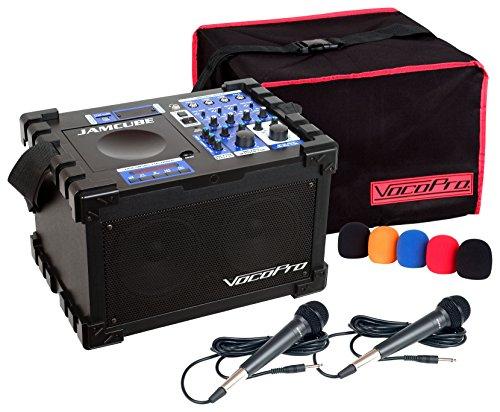 - Vocopro JamCube MC 100W Mini CD/CDG USB PA Karaoke Machine System+(2) Mics+Cover