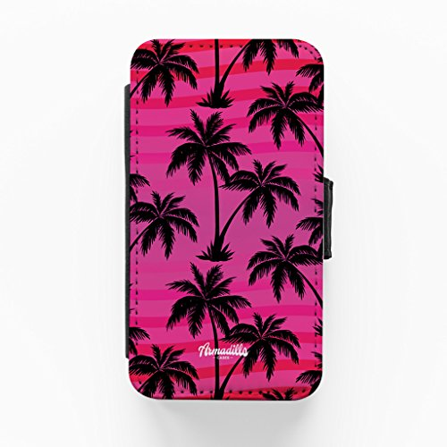Palm Trees Pink Hochwertige PU-Lederimitat Hülle, Schutzhülle Hardcover Flip Case für iPhone 4 / 4s vom BYMBOW + wird mit KOSTENLOSER klarer Displayschutzfolie geliefert