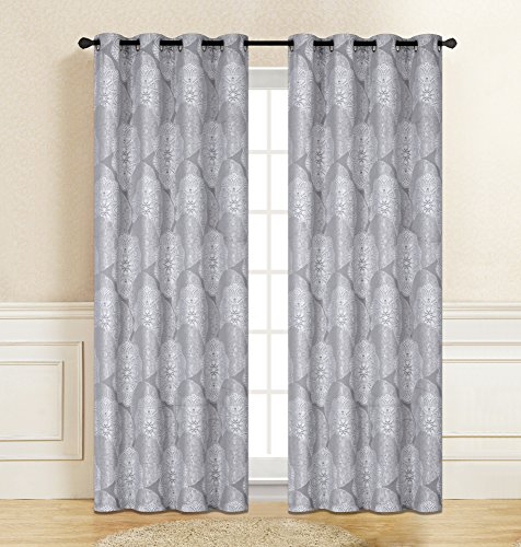 (Xile Blackout Curtain Jacquard Pair Thermal Top Grommet Design Decorated for Living Room Bedroom 54×63 Set of 2 Panels)