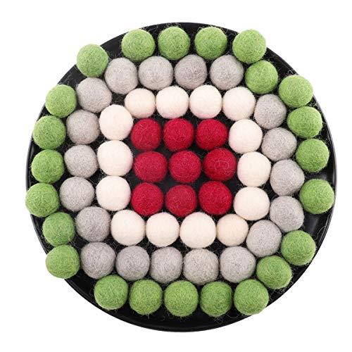 Promise Babe 80pcs 2cm Wool Felt Balls Red Grey White Green Color Christmas Felt Ball Garland Beads DIY Decorations (Garland Diy Ball Christmas)