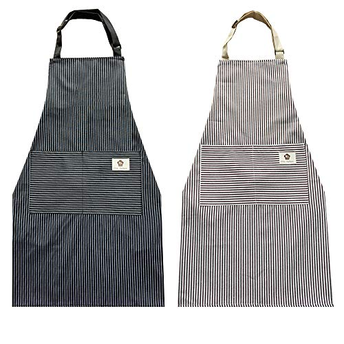 cactusgirl 2 Pack Cotton Adjustable Aprons,Cooking Apron, Kitchen Apron, Aprons for Women and Men