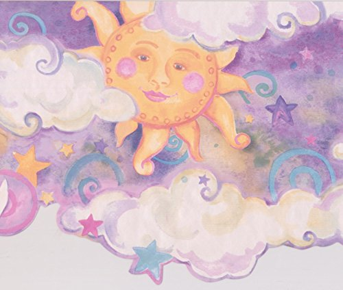 Smiling Sun Moon Purple Clouds Stars Kids Wallpaper Border Retro Design, Roll 15' x 10