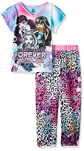 Monster High Big Girls' 2pc Sleepwear Set, Multi, Medium (7-8) (Girl Monsters)