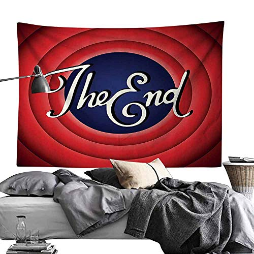 Homrkey Tapestry 1950s Decor Collection Movie Ending Screen Academy Dated Broadcast Entertainment Show Oscar Cinema Frame Image Tapestry for Room W93 x L70 Red Navy ()