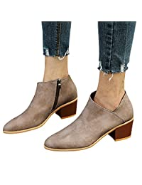 Yuxikong Women's Ankle Boots Chunky Low Heel Almond Toe Stacked Zip Up Boots