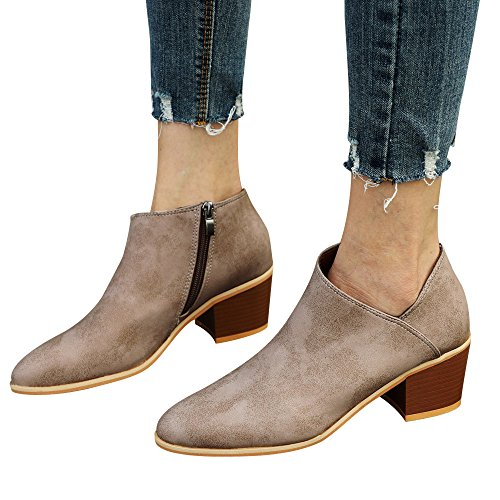 - Faionny Women Round Toe High Heels Suede Leather Boots Slip-On Single Shoes Solid Ankle Boots Sneakers (Khaki, US:6.5)