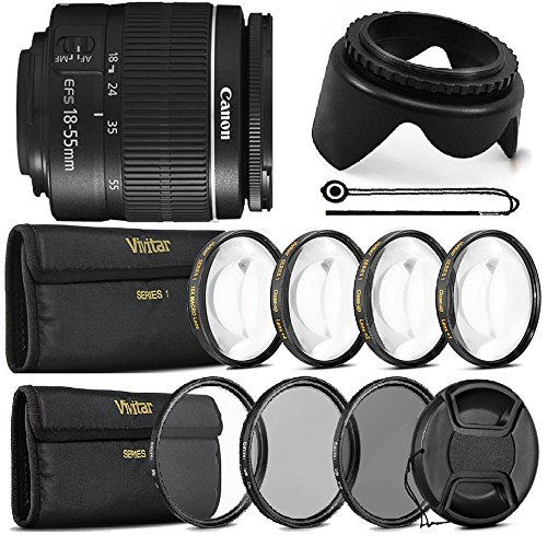Canon EF-S 18-55mm f/3.5-5.6 III + Top Filter Set For Canon 1300D 1200D T5 T6 T5i T6i 70D and 80D -  Teds, VIV-II-ACC-14