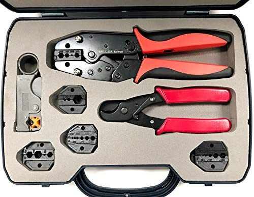 (ConnectoRF Heavy Duty Quick Change Ratchet Crimping Tool Kit for Coaxial Cable With Crimper Cutter Stripper and 4 Die Sets)