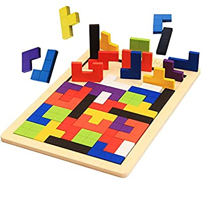 DOYIFun Wooden Tetris Puzzle Tangram Jigsaw Puzzle Brain Teasers Toy Colorful Wood Puzzles Intelligence,Educational Gift for Kids (40 Pcs)