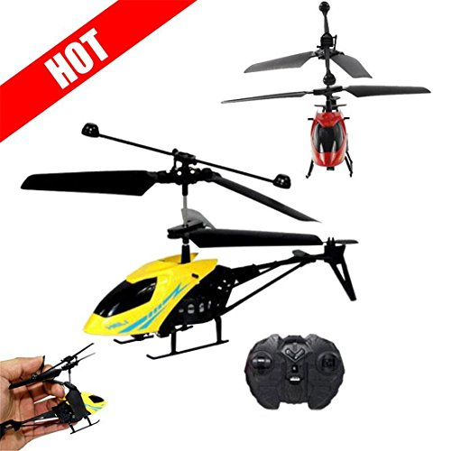 Hemlock Flying Helicopter Toys, Kids Mini RC Plane Toys Boys Remote Controlled Aircrafts (Yellow)