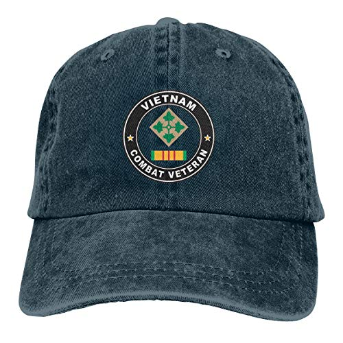 4th Infantry Division Vietnam Combat Veteran Fashion Adjustable Cowboy Cap Baseball Cap for Women and Men Navy ()