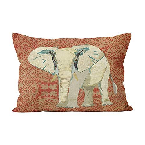 (Sokiiy White Elephant Amber Damask Beauty Hidden Zipper Home Decorative Rectangle Throw Pillow Cover Cushion Case Boudoir 12x20 Inch One Side Design Printed Pillowcase)
