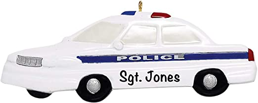 PERSONALIZED CHRISTMAS ORNAMENT OCCUPATION-POLICE CAR