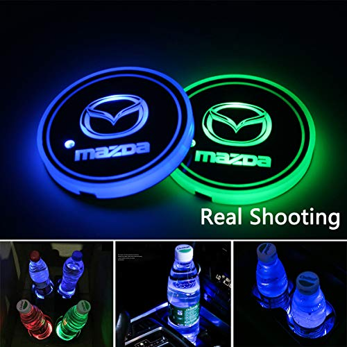 2pcs LED Car Cup Holder Lights, 7 Colors Changing USB Charging Mat Luminescent Cup Pad, LED Interior Atmosphere Lamp for - Lamps Mazda