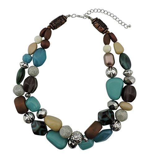 BOCAR 2 Layer Statement Chunky Beaded Fashion Necklace for Women Gifts (NK-10384-Aqua (Wood Beaded Jewelry)