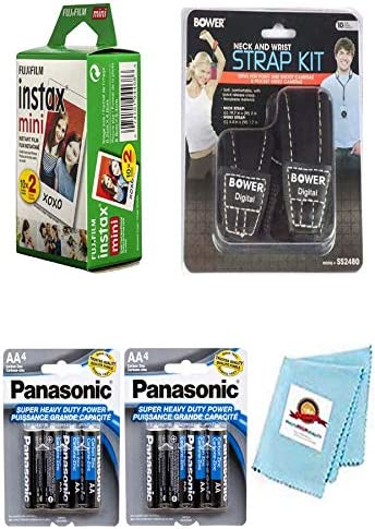 Mini 7 Mini 7S + 8X Batteries Mini 8+ Instant Film Camera Mini 8 Accessory Kit: Instant Film Neck /& Wrist Strap Cleaning Cloth for Fujifilm Instax Mini 9 20 Sheets