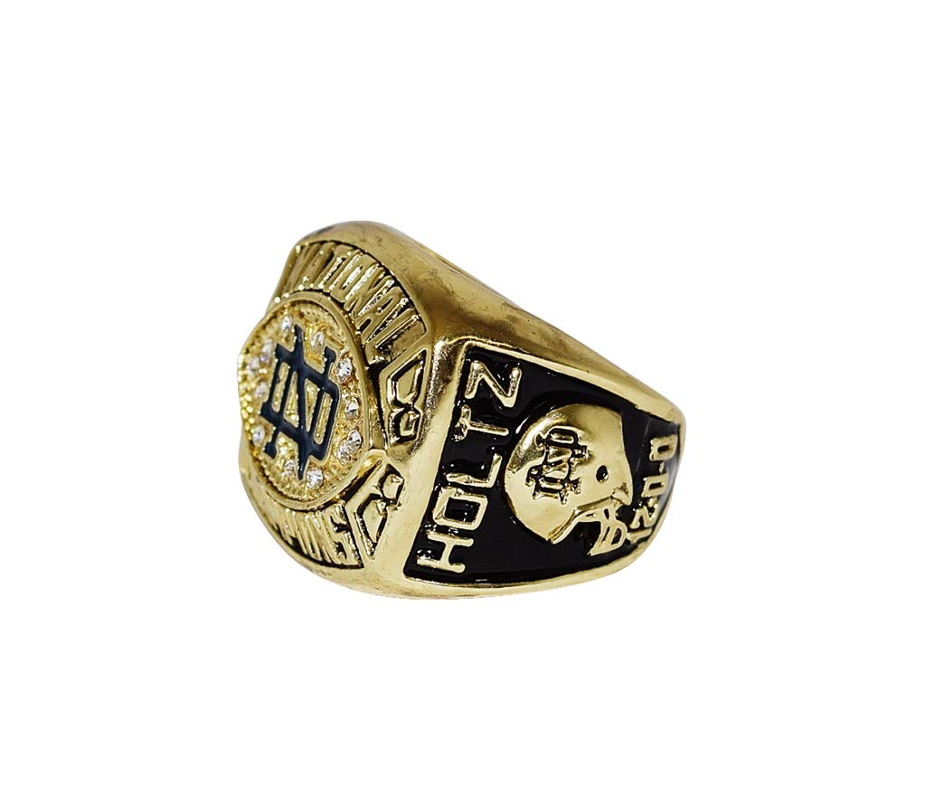 UNIVERSITY OF NOTRE DAME FIGHTING IRISH (Lou Holtz) 1988 BCS NATIONAL CHAMPIONS (Trust and Love) Vintage Rare Collectible Replica NCAA Football Gold Championship Ring with Cherrywood Display Box
