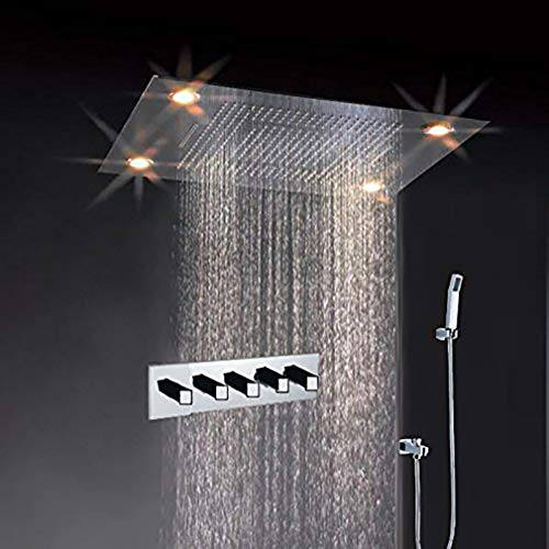 Cascada Classic Design 31 Inch (600mmx800mm) Large Rain Shower Set with Waterfall LED Rectangle recessed ceiling-mount 4 Function shower head, with remote control, Stainless Steel Polish Finish
