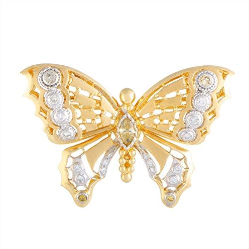 (Luxury Bazaar 18K Gold White and Yellow Diamond Butterfly Brooch/Pendant)