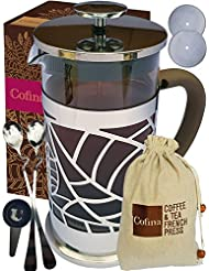 Cofina French Press Coffee Maker - 34 oz French Coffee Press Bundle   with Extra Thick Borosilicate Glass Carafe   4 Stage Stainless Steel Filtration   Perfect as Cold Brew Coffee Maker & Tea Maker