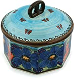 Polish Pottery Jar with Lid 7-inch Field Of Butterflies UNIKAT