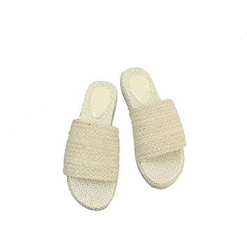 Primavera y verano zapatillas pendiente femenino alpargatas de cáñamo sandalias de tacón alto impermeables mollete gruesa ...