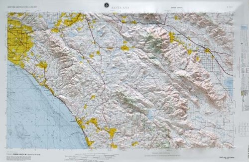 SANTA ANA REGIONAL Raised Relief Map in the state of California with OAK WOOD Frame