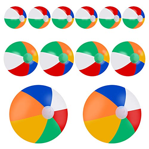 Sunshane 12 Pieces Rainbow Beach Balls Combo Set in 20 Inch, 12 Inch and 6 Inch, Inflatable Beach Balls for The Pool, Beach, Summer Parties, Gifts and ()