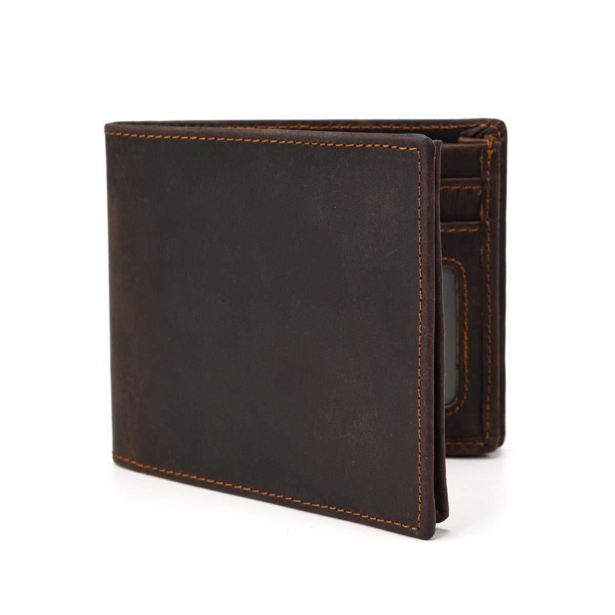 Bolso de Cuero de Vaca de la Billetera de Bolsillo de la Moneda de la Cremallera de la Cartera de Bifold del Cuero Genuino de los Hombres (Dark Brown): ...