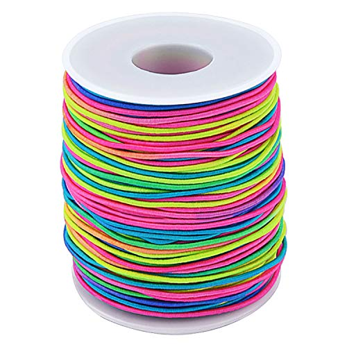 Sunmns 1.5mm Rainbow Elastic Cord Beads Stretch String for Jewelry Bracelet Making, 109 Yard