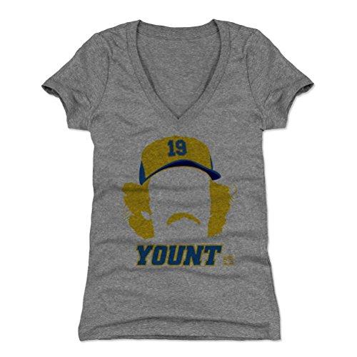 - 500 LEVEL Robin Yount Women's V-Neck Shirt Medium Tri Gray - Vintage Milwaukee Baseball Women's Apparel - Robin Yount Silhouette B