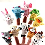 Image of Huifany Cute Cartoon Animal Finger Puppets Soft Velvet Dolls Props Toys-10 Animals Set