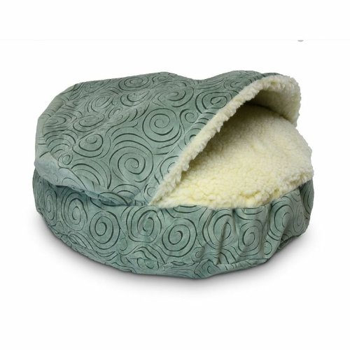 """Snoozer Luxury Orthopedic Cozy Cave Pet Bed - Small - 25"""" Diameter x 4"""" Sidewall - Hood Height 8"""" Quasar Robins Egg"""