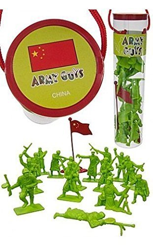 WWII Chinese Infantry with Flag World at War Toy Soldiers Series Plastic Army Men Figures 1/32 Scale 17 Pieces with Reusable Tube Storage from Army