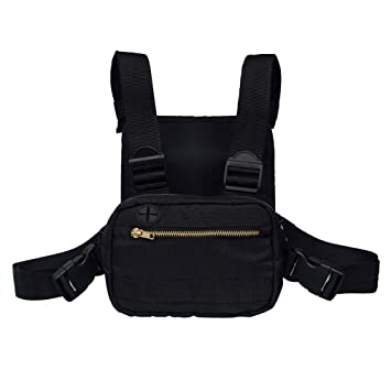 Amazon.com: Moda ajustable negro pecho bolso, multiusos ...