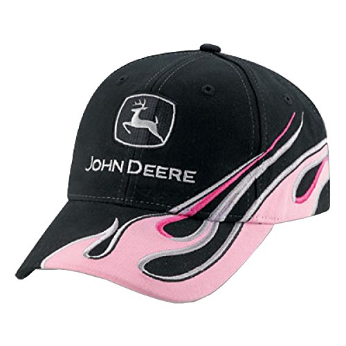 John Deere Ladies Visor with Pink Flame - Flame Hat Visor