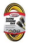Coleman Cable 02538 12/3 Push-Lock SJTW Locking Extension Cord, Yellow/Black, 50-Feet