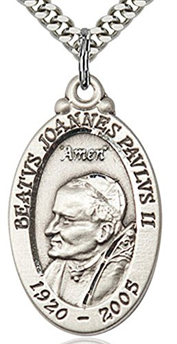 - Heartland Store Men's Sterling Silver Pope John Paul II Medal + 24 Inch Endless Rhodium Plated Chain