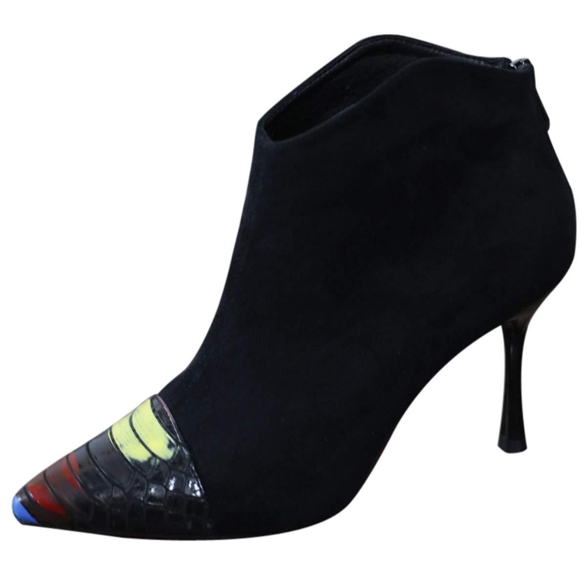 LBTSQ-Sexy Hochhackigen Schuhe 8Cm Scharf Darauf Farbige Kurze Stiefel Slim Reißverschluss Jigsaw-Stiefel.