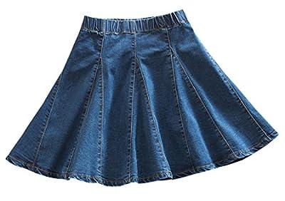 Women's Casual Stretchy Elastic Waist A-Line Mini Skater Denim Short Skirt