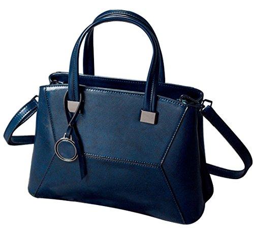 HopeEye mujer Tendencias de la moda Cuero Mochila Bolsa de mano Bolso de Crossbody Cuero Elegante (Brown) 5-azul