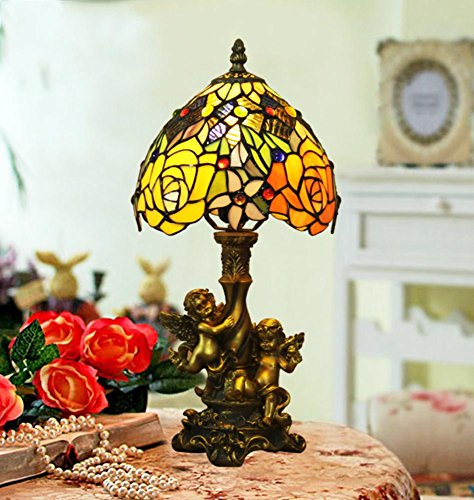 Angels Table Tiffany Lamp (Tiffany-Style Table lamp/Angel of Roses Vintage Bedside Table lamp/Baroque Stained Glass Table lamp-A)