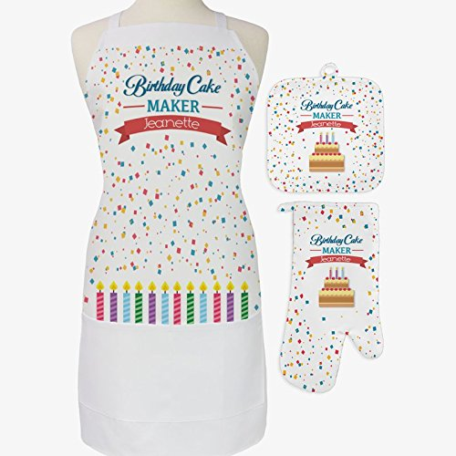 Personalized Direct Personalized Birthday Cake Maker 3-Piece Apron, Potholder and Oven Mitt Set by Personalized Direct
