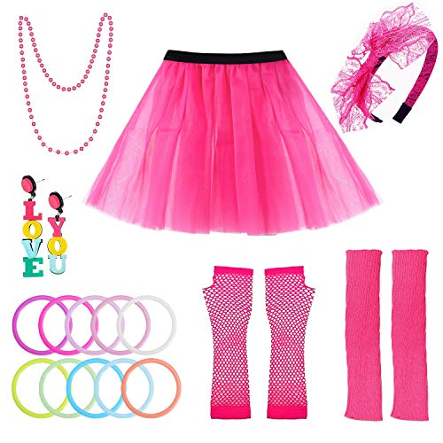 selizo 80s Accessories for Women, 80s Costumes for Women Rose ()