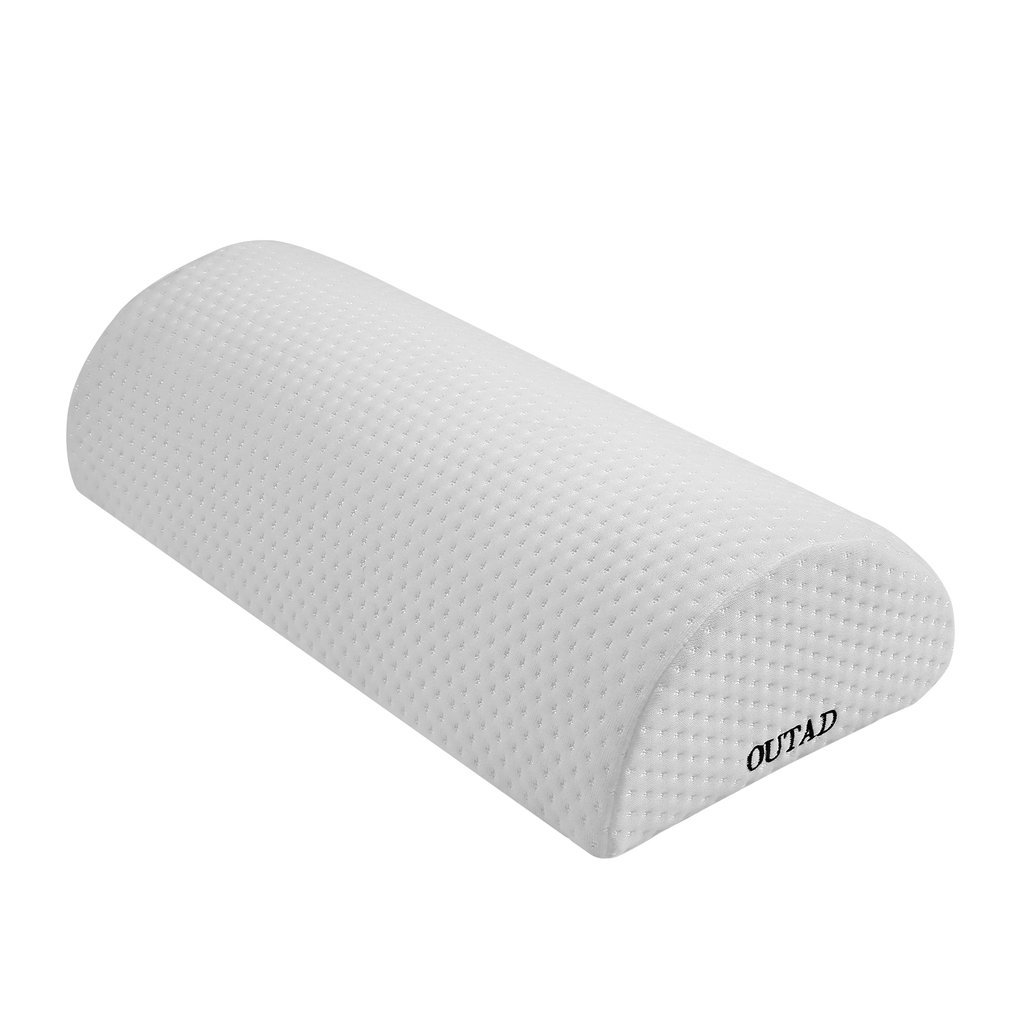 OUTAD Back Pain Relief Bolster /Wedge Memory Foam Semi-Roll Pillow for Sciatica Relief, Back Pain, Leg Pain with Washble Cotton Cover (M, White)