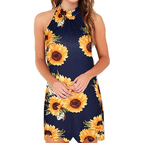 Aniywn Women's Halter Neck Sleeveless Short Dress Floral Print Party Mini Dress Casual Shift Dress Navy