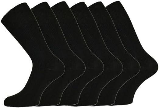 Size 11-14 No Elastic 6 PAIRS Mens Big Foot Loose Top NON ELASTIC 100/% Cotton Socks