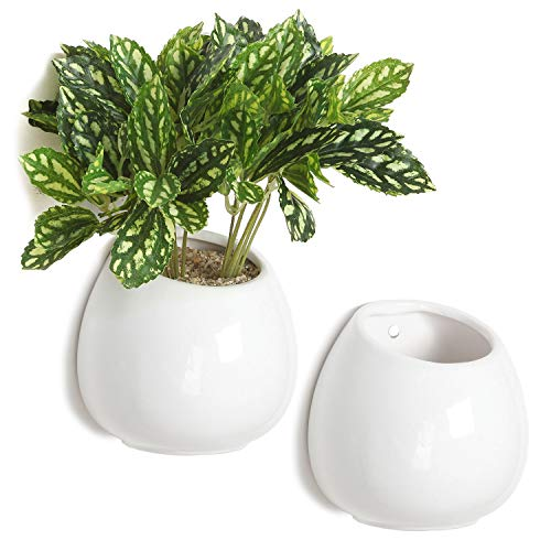 (MyGift 4 Inch Small Wall Mounted Ceramic Flower Plant Vase, Succulent Planter Pots, Set of 2, White)