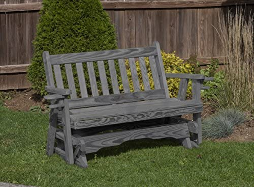 Amish Heavy Duty 800 Lb Mission Pressure Treated Porch Patio Garden Lawn Outdoor Glider with Cup Holders-5 Feet-Grey-Made in USA